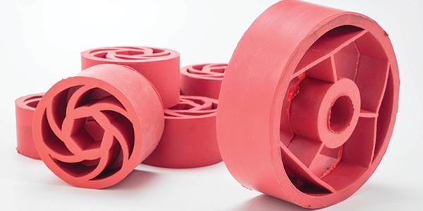 Alcuni articoli stampati in gomma di forma circolare, con due differenti trame