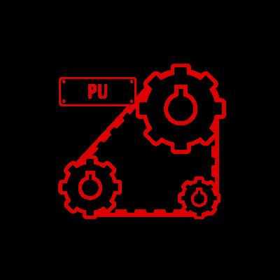 Icona grafica di tre rulli simili ad ingranaggi con sopra una cinghia di poliuretano