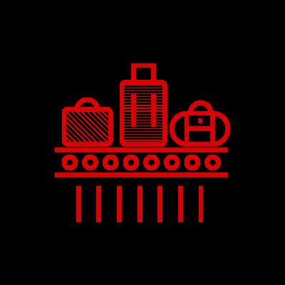 Icona nastri trasportatori, composta da un nastro trasportatori con sopra valige