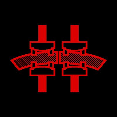 Icona di due cinghie e due ganasce che le saldano