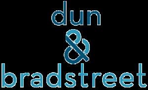 Logo 'dun' & 'bradstreet', composto da scritte sovrapposte con al centro una & commerciale, colori azzurro e blu